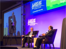 Former Colorado Gov. Bill Ritter interviews Amory Lovins at the Center of the New Energy Economy conference on Oct. 30. Photo/Maury Dobbie