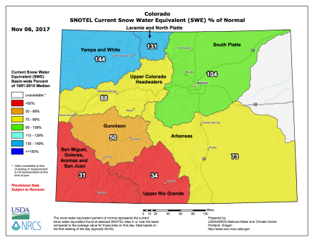 Colorado snowpack November 6, 2017 via the NRCS.
