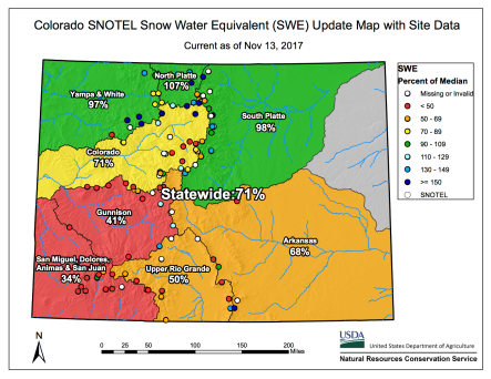 Snowpack Colorado November 13, 2016 via the NRCS.