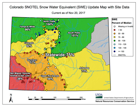 Statewide basin-filled snowpack map November 20, 2017 via the NRCS.