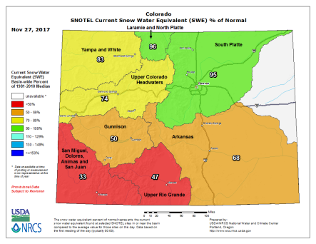 Snowpack Colorado November 27, 2017 via the NRCS.