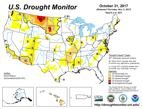 US Drought Monitor October 31, 2017.