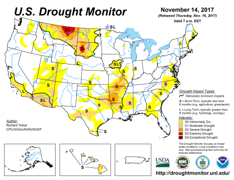 US Drought Monitor November 14, 2017.