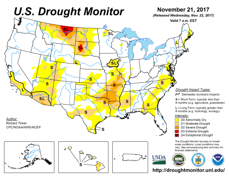 US Drought Monitor November 21, 2017.