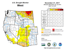West Drought Monitor November 21, 2017.