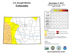 Colorado Drought Monitor December 5, 2017.