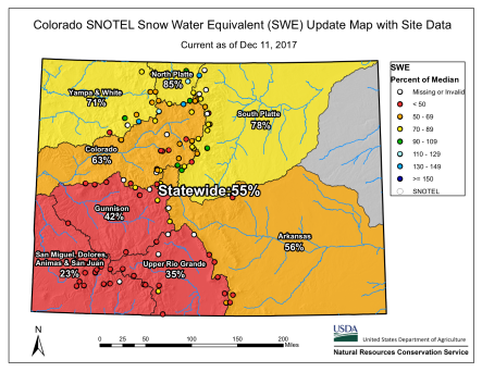 Statewide basin-filled snowpack map December 11, 2017 via the NRCS.