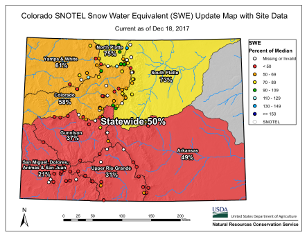 Statewide snowpack basin-filled map December 18, 2017 via the NRCS.