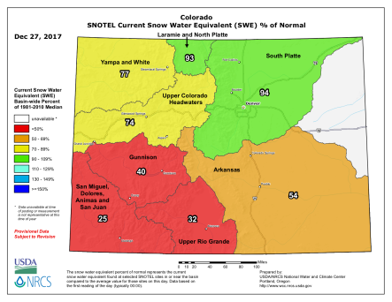 Statewide basin-filled snowpack map December 27, 2017 via the NRCS.
