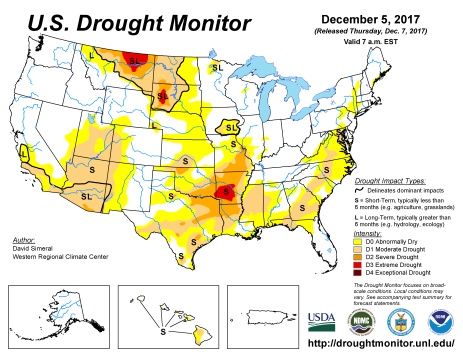 US Drought Monitor December 5, 2017.
