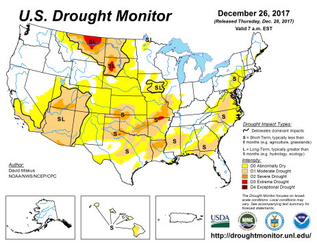 US Drought Monitor December 26, 2017.