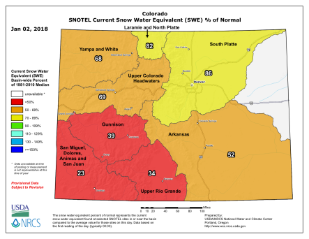 Statewide snowpack basin filled map January 2, 2018 via the NRCS.