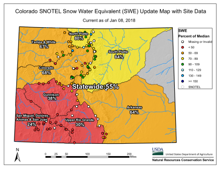 Statewide snowpack January 8, 2018 via the NRCS.