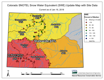 Statewide snowpack basin-filled map January 16, 2018 via the NRCS.