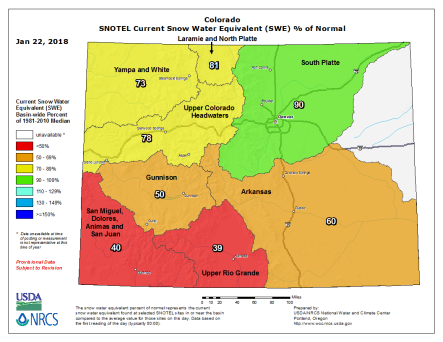 Statewide basin-filled snowpack map January 22, 2018 via the NRCS.