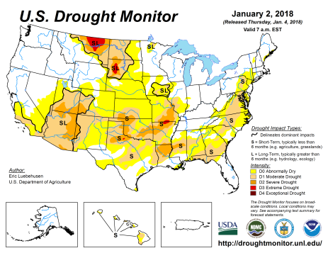 US Drought Monitor January 2, 2018.