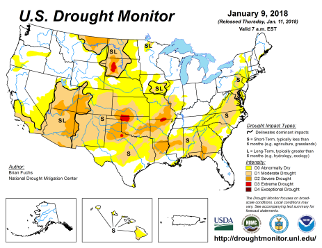 US Drought Monitor January 9, 2018.