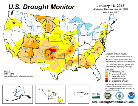 US Drought Monitor January 16, 2018.