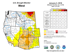 West Drought Monitor January 2, 2018.