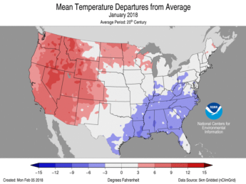 January Average Temperature Departures