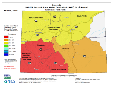 Statewide basin-filled snowpack map February 5, 2018 via the NRCS.