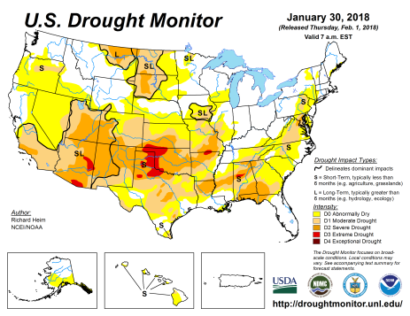 US Drought Monitor January 30, 2018.