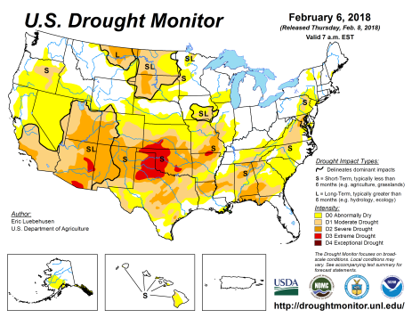US Drought Monitor February 6, 2018.