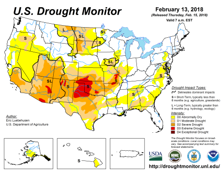 US Drought Monitor February 13, 2018.