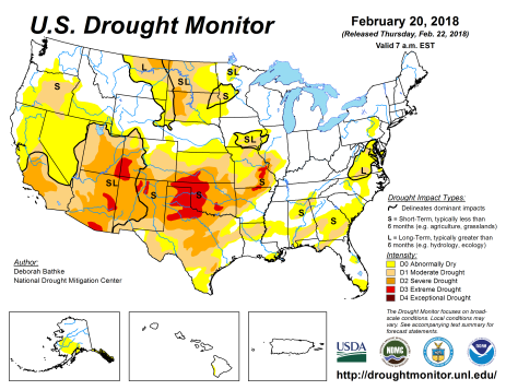 US Drought Monitor February 20, 2018.