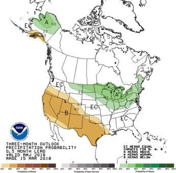 Seasonal precipitation outlook through June 30, 2018 via the CPC.