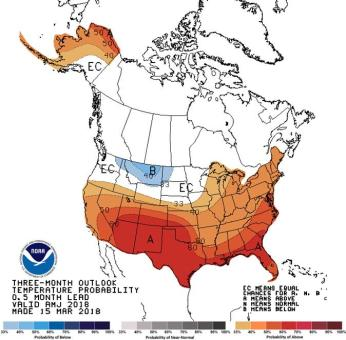 Seasonal temperature outlook through June 30, 2018 via the CPC.