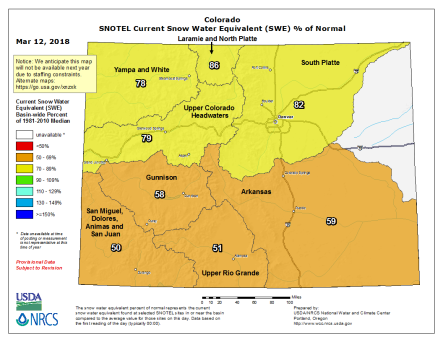 Statewide snowpack March 12, 2018 via the NRCS.