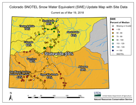 Statewide snowpack March 19, 2018 via the NRCS.