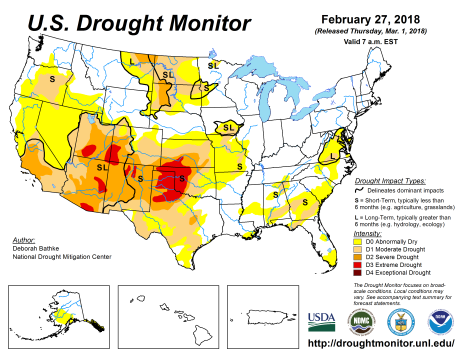 US Drought Monitor February 27, 2018.