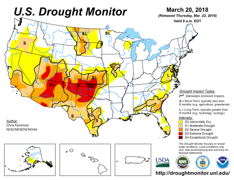 US Drought Monitor March 20, 2018.