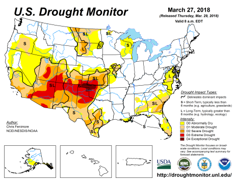 US Drought Monitor March 27. 2018.