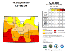 Colorado Drought Monitor April 3, 2018.