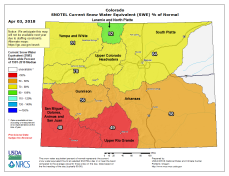 Statewide snowpack April 3, 2018 via the NRCS.