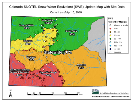 Statewide basin-filled snowpack map April 16, 2018 via the NRCS.