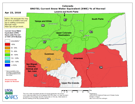 Statewide snowpack basin-filled map April 23, 2018 via the NRCS. Note Rio Grande did not render correctly. It was at 31% of normal on April 22, 2018.