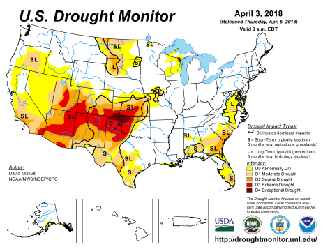 US Drought Monitor April 3, 2018.