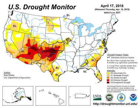 US Drought Monitor April 17, 2018.