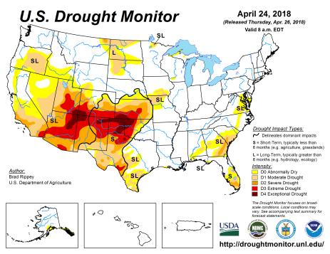 US Drought Monitor April 24, 2018.
