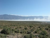 Blowing Alkali Dust at Owens Lake, California. Photo credit: Eeekster (Richard Ellis) via Wikimedia
