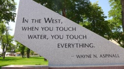 Part of the memorial to Wayne Aspinall in Palisade. Aspinall, a Democrat, is a legend in the water sector, and is the namesake of the annual award given by the Colorado Water Congress. Photo: Brent Gardner-Smith/Aspen Journalism