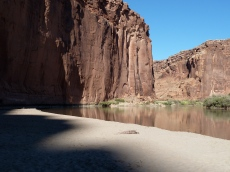 Shadows taking over a beach along the Green River in Utah. Photo: Brent Gardner-Smith/Aspen Journalism