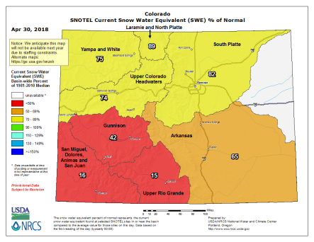 Statewide basin-filled map April 30 2018 via the NRCS.