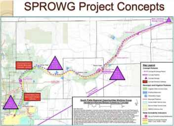 A group called the South Platte Regional Opportunities Working Group, or SPROWG, is proposing to store 175,000 acre-feet of water in a series of reservoirs on the South Platte River, from north of Denver to the Morgan County line. The project also includes a long pipeline to pump water from the river back to the metro area to be cleaned and re-used. Graphic credit: CWCB via Aspen Journalism