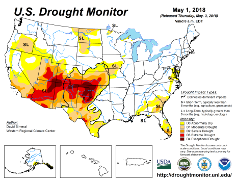 US Drought Monitor May 1, 2018.