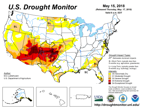 US Drought Monitor May 15, 2018.